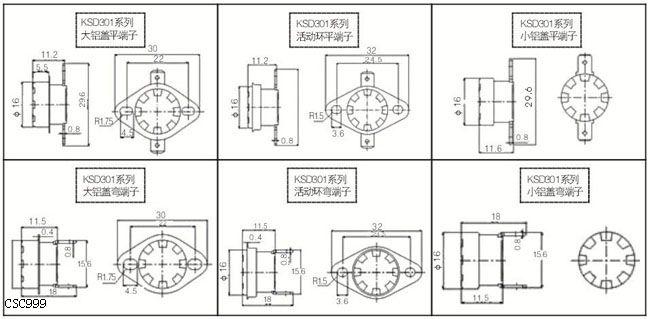1、突跳式温控器应用范围: KSD301系列突跳式温控器广泛应用于锅炉、热水器、吸尘器、复印机、电炉、烤炉、干衣机、冰箱、洗碗机、空调等的温度控制。 2.产品特点 具有性能稳定、精度高、体积小、重量轻、可靠性高、寿命长、对无线电干扰小等特点。 2.1 动作方式 常开或常闭。 2.